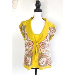 Anthropologie Maeve Yellow Paisley Tie Button Top